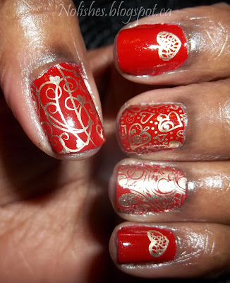 Nail stamping manicure featuring a red nail polish stamped with gold heart themed designs from Messy Mansion plate MM31