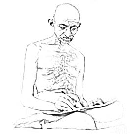 sketch of sitting Mahatma Gandhi writing
