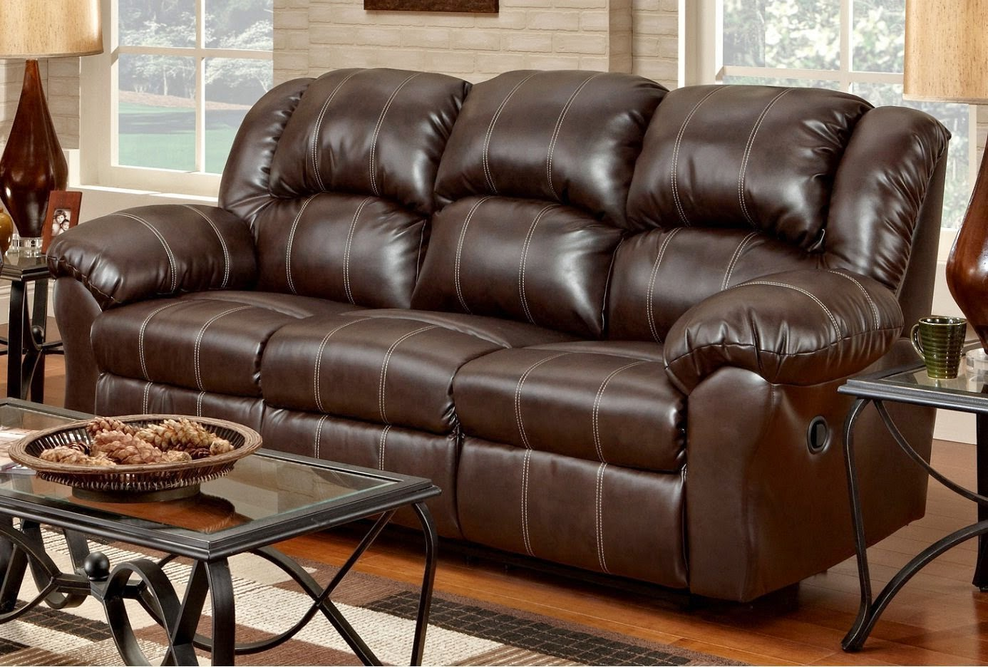 Roundhill Brown Alpha Leather Dual Reclining Sofa