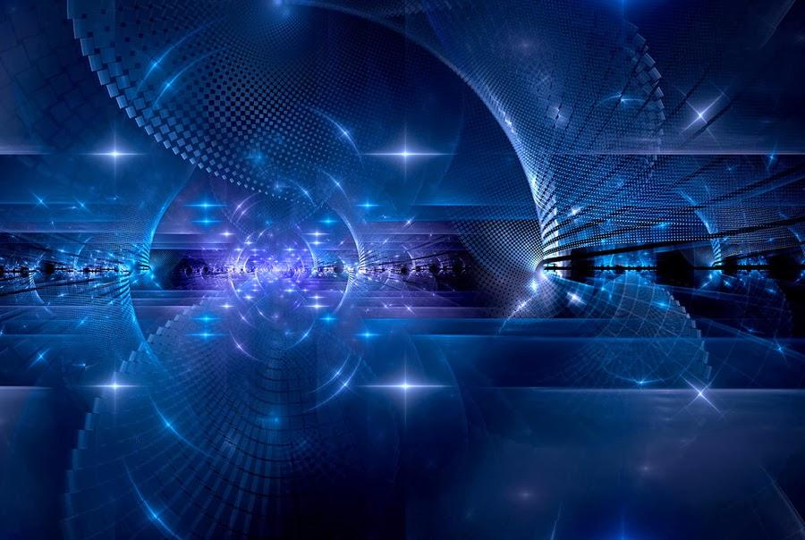 dios y la ciencia azul abstracto