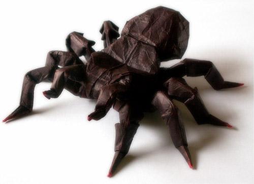 tarantula araña origami papel
