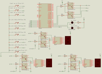 Elevator Lift control for three stories with microcontroller 8051 circuit design for a elevator