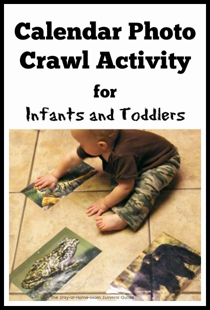 """Calendar photo indoor activity to get crawling infants and toddlers learning and moving. There are adaptations listed for different ages so multiple age children can """"play"""" together. So simple from The Stay-at-Home-Mom Survival Guide."""