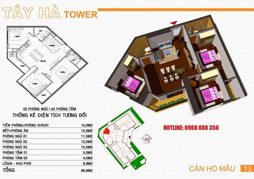 Căn hộ số 13 chung cư Tây Hà Tower