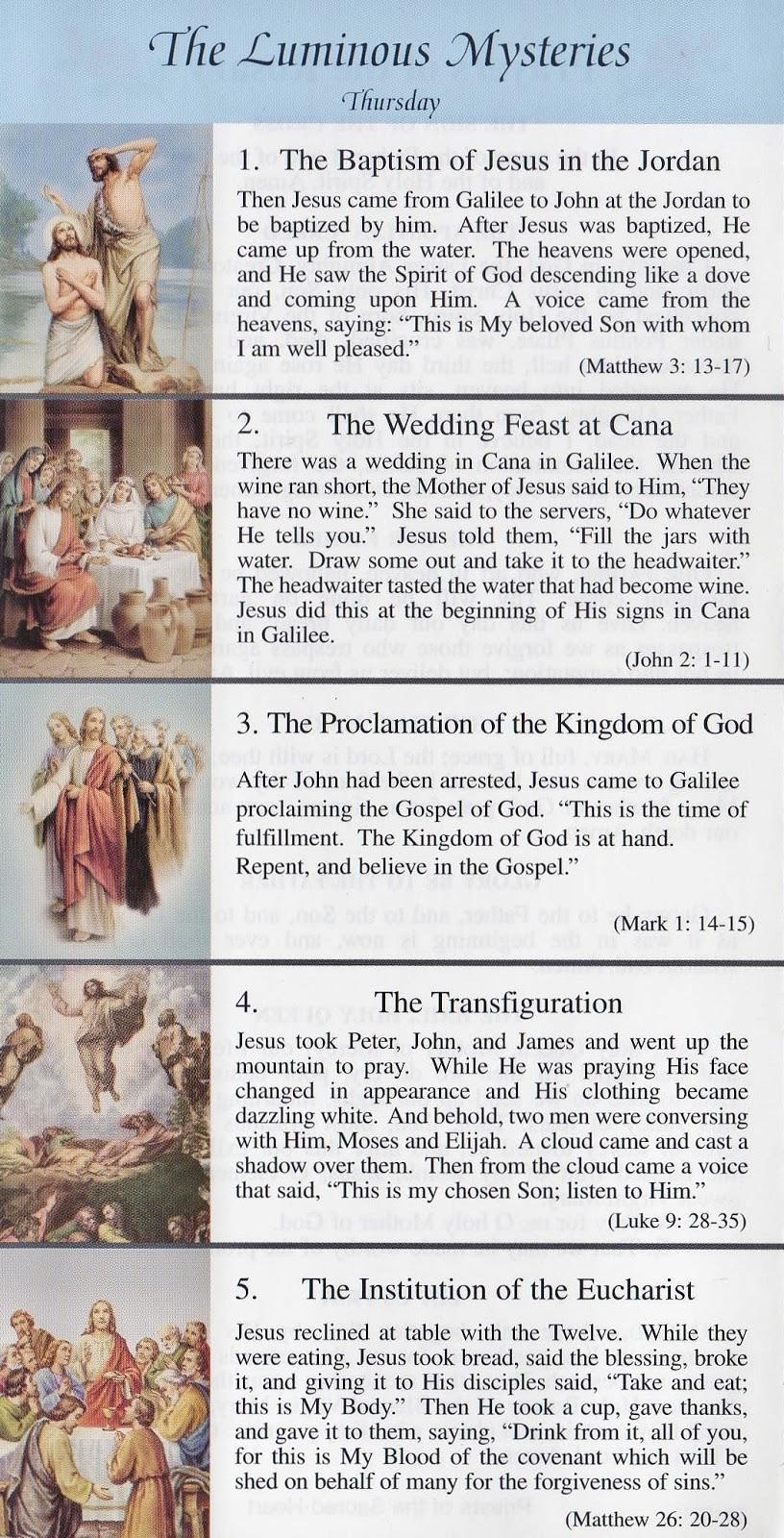 Handy image regarding luminous mysteries of the rosary printable