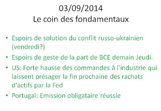 actualités économiques et boursières 03/09/2014