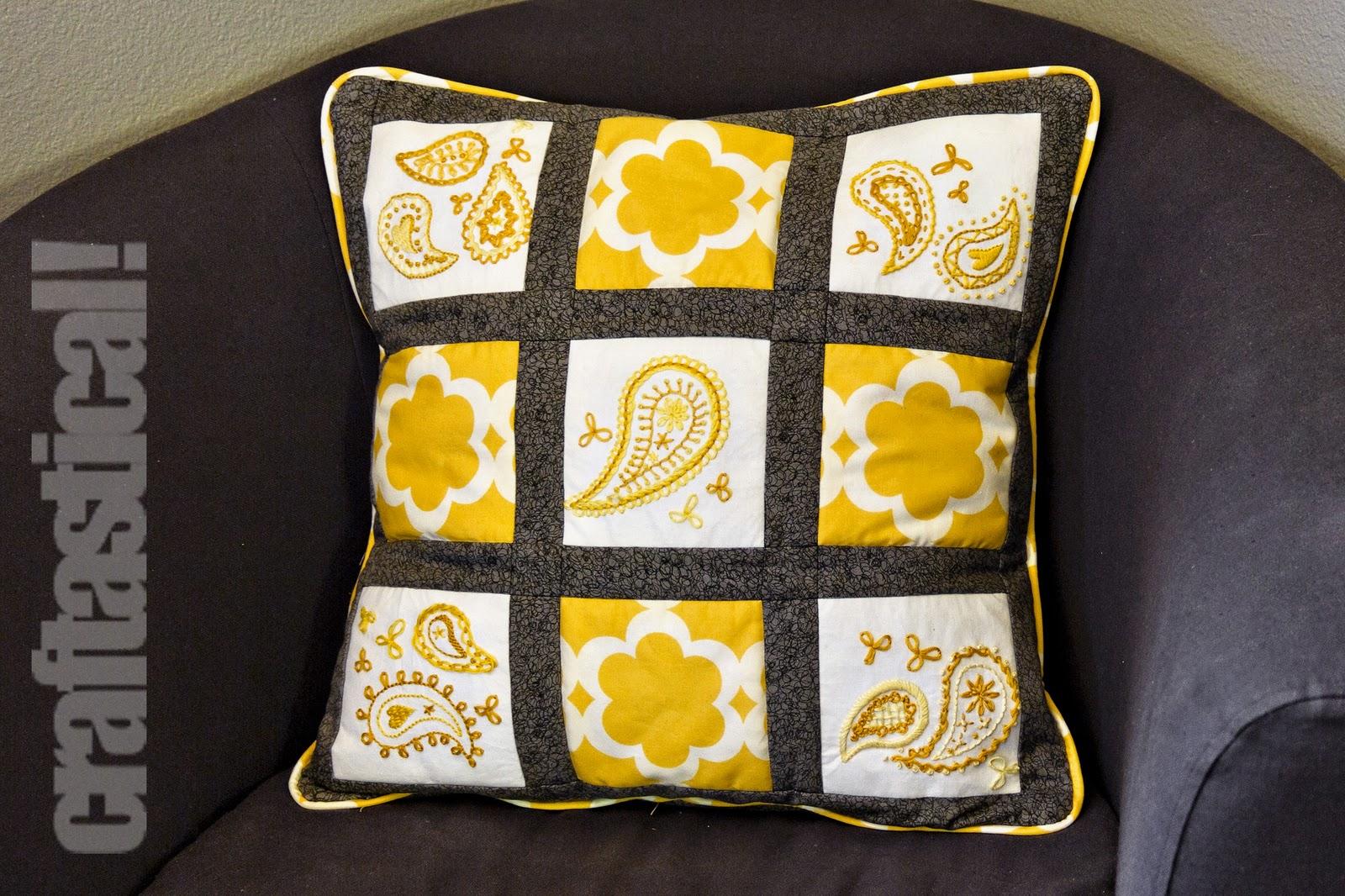 Craftastical sunshine paisley throw pillow tutorial