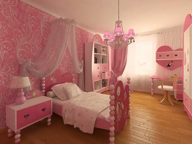 Gambar Kamar Tidur Anak Perempuan Pink 2015 Desain Terbaru Cantik