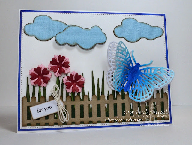 Our Daily Bread Designs, Mini Tag Sentiments, Fancy Fritillary, Birds and Nest, Fence, Grass Border, Happy Birthday, Clouds and Raindrops, Mini Tags, Flourished Star Pattern, Designed by Elizabeth Whisson, Copics, handmade card
