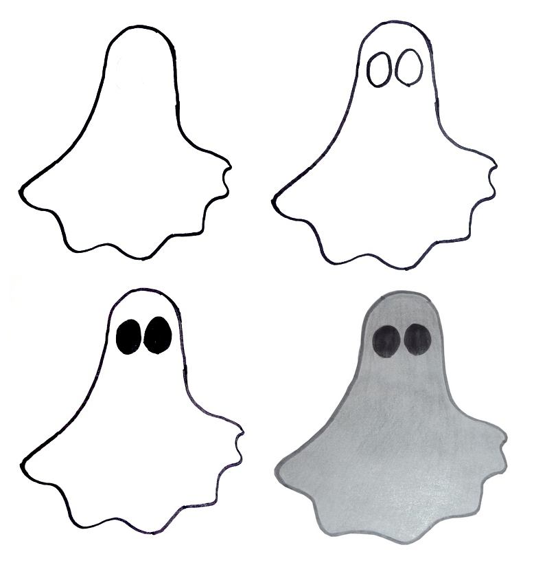 how to draw halloween ghost - Easy Halloween Drawings For Kids