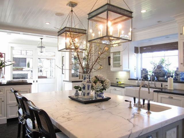 beautiful traditional style decor white kitchen marble counter tops hanging lanterns