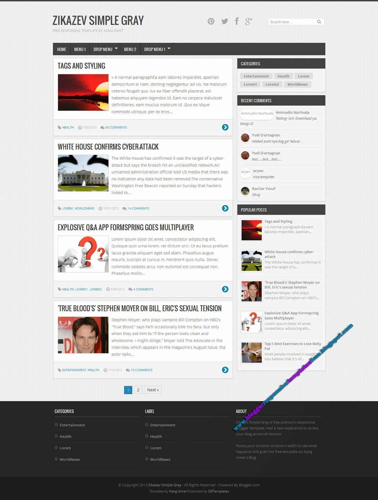 Zikazev Simple Grey Responsive Templates Free Download Responsive