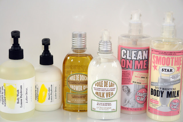 New shower and body duo-products (& Other Stories, L'Occitane, Soap & Glory) & Other Stories Body Wash Lemon Daydream  & Other Stories Hand Lotion Lemon Daydream L'Occitane Shower Oil with Almond Oil*  L'Occitane Milk Veil with Almond Milk Soap & Glory Clean On Me  Soap & Glory Smoothie Star