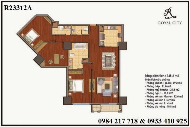 Mua bán chung cư Royal City, căn hộ R23312A 3 phòng ngủ diện tích 145.2 m2 bán giá rẻ.