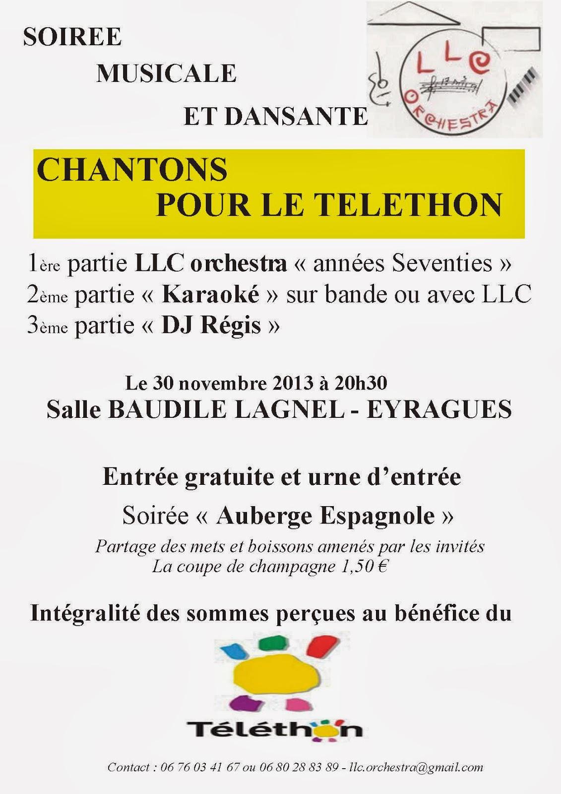 Archives blog d 39 eyragues 2013 soir e t l thon par les llc for Soiree telethon