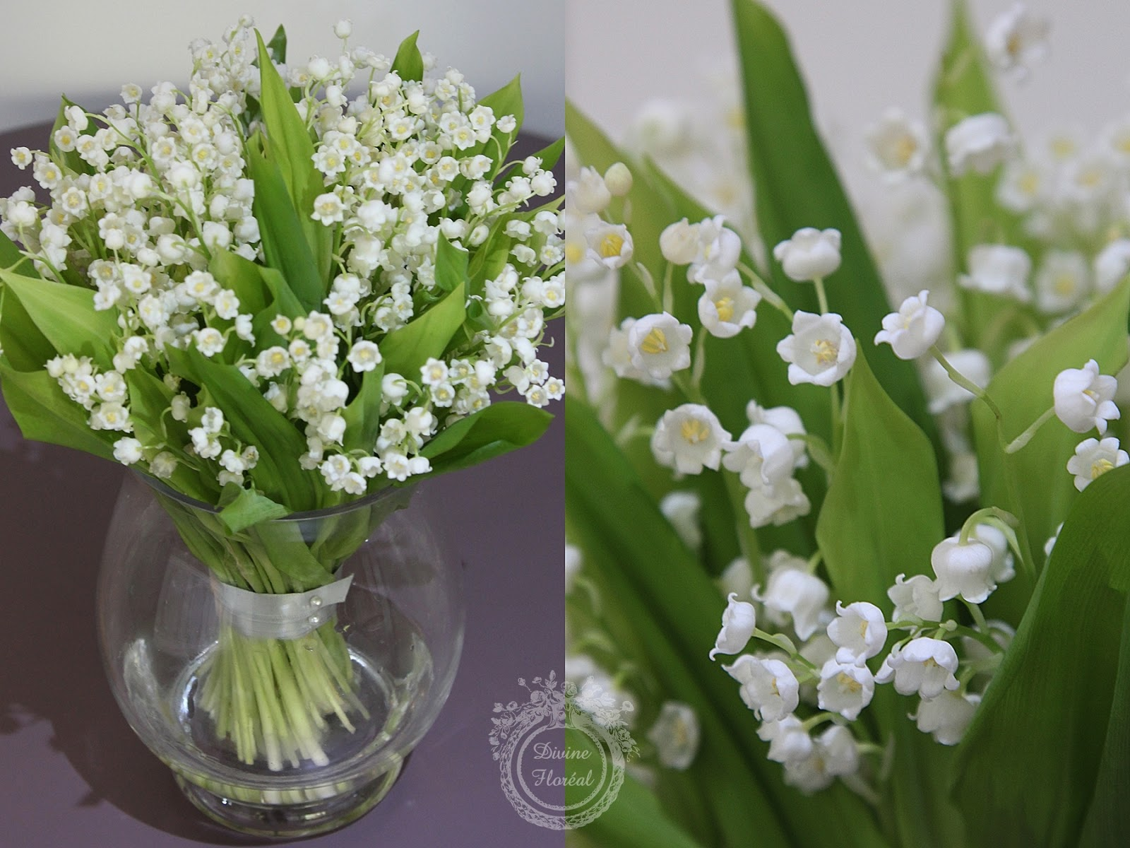 Divine Floréal: Lily Of The Valley Bouquet And Purple Wreath