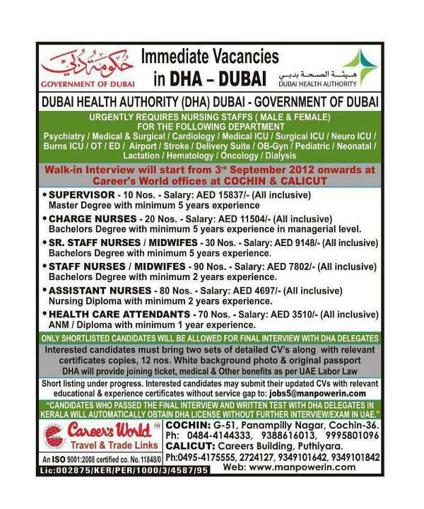 Nurse Vacancy in DHA - Dubai - Gulf Jobs for Malayalees