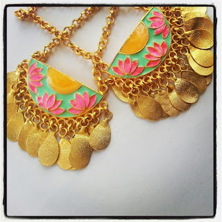 Aditi bhatt accessories, earrings, pink & gold earrings, enamel jewelry