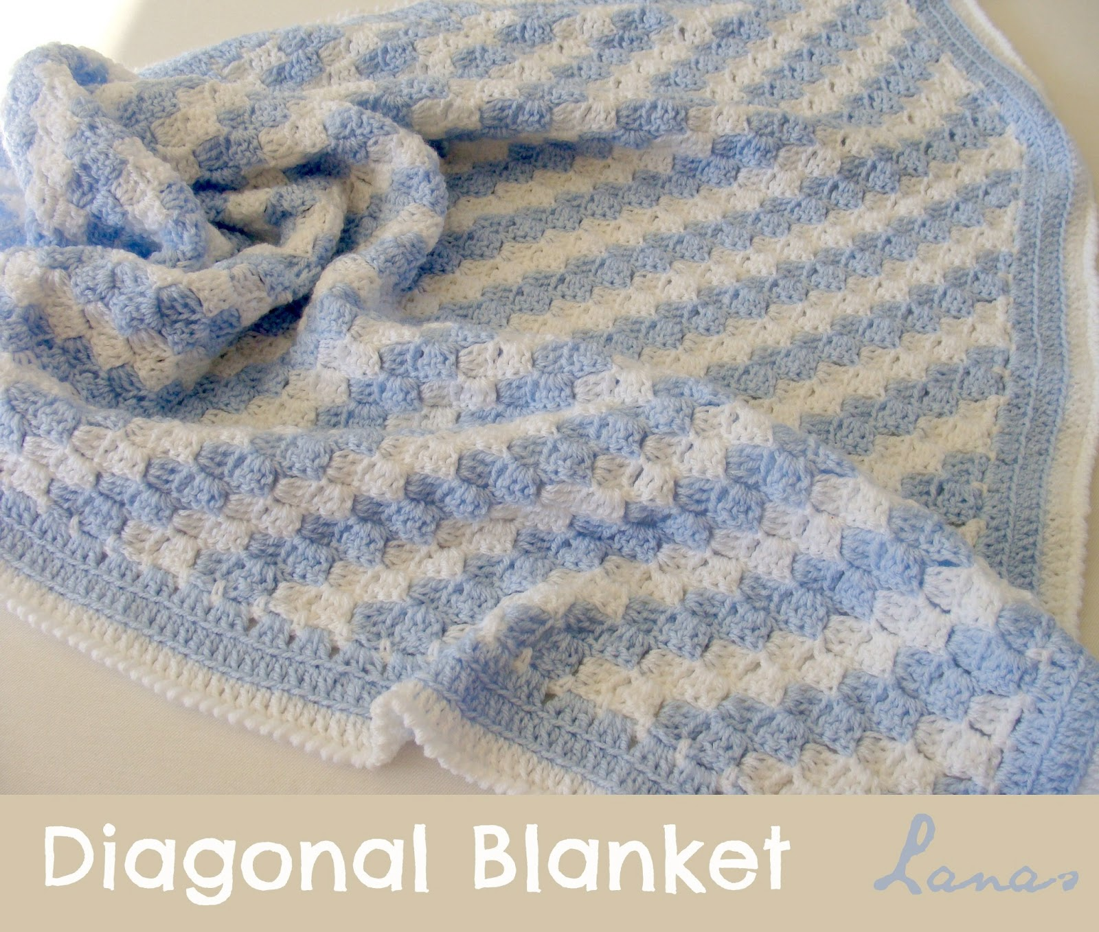 Free Crochet Pattern For Diagonal Baby Blanket : Lanas de Ana: Diagonal Blanket