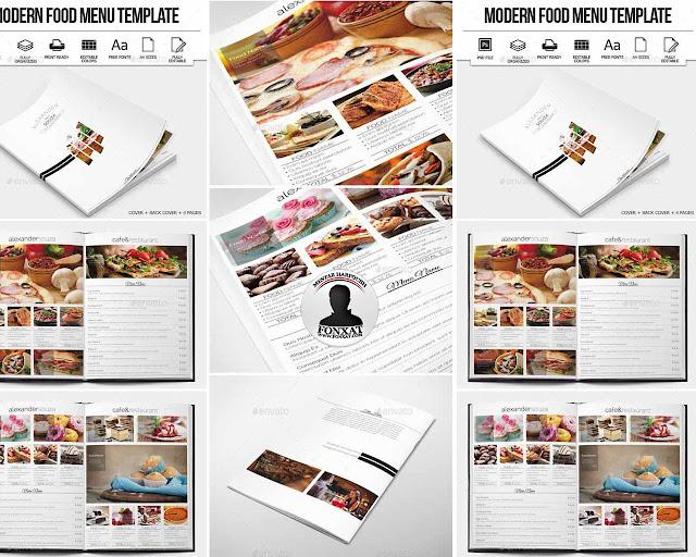 المجموعة 12 من تصميمات منيوهات الطعام والبروشات الاحترافية