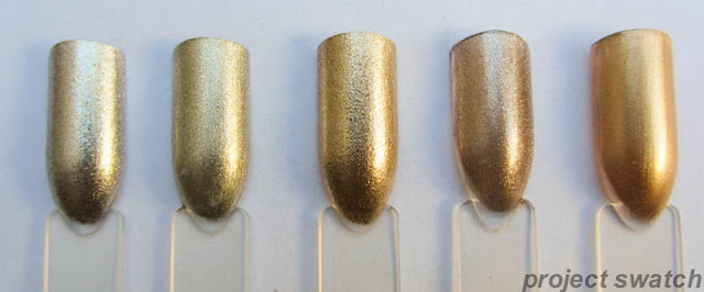Wet n Wild Chrome Steel The Spotlight, Revlon Gold Coin, Wet n Wild Chrome A Show at the Palladium, Spoiled I'm Ba-roque, Wet n Wild Megalast Deadly Dose swatches
