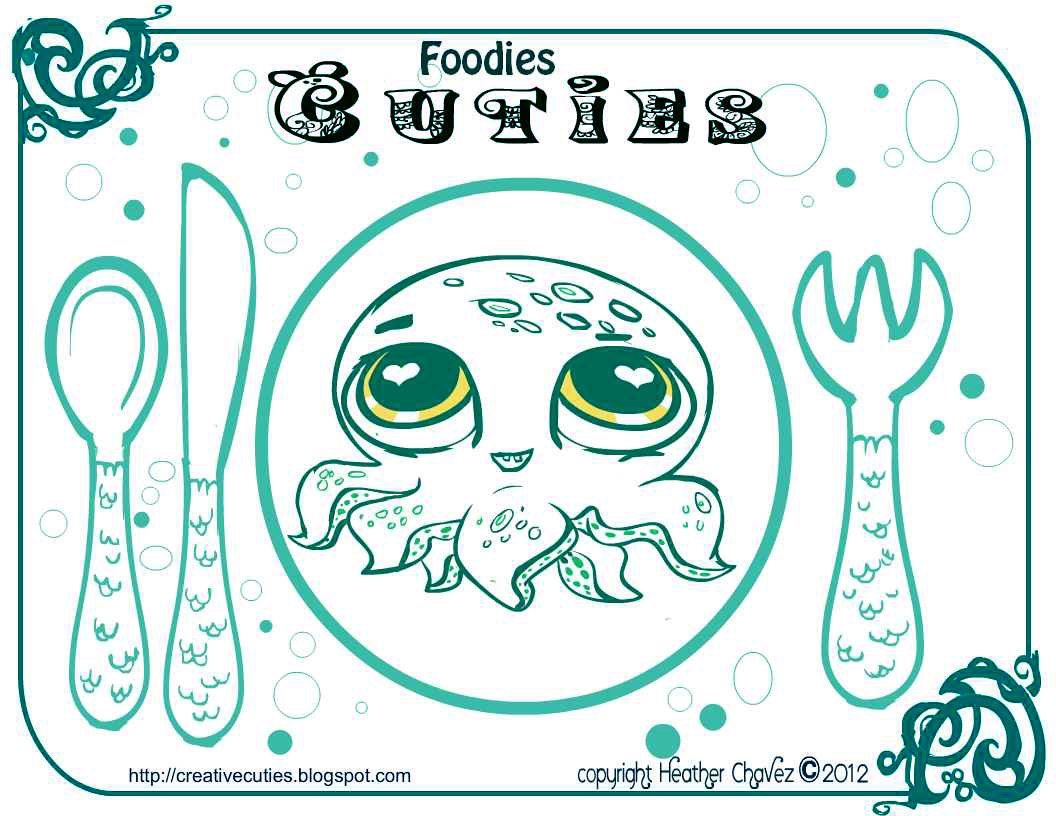 Creative Cuties: printable place mat coloring page octopus