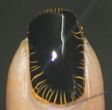 Yellow and black shatter manicure with Barry M Croc Effect Nails 323