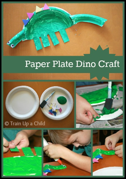 how to make dinosaur out of paperplate