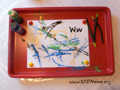 Finished art piece by a kinder using rubber worm: STEMmom.org