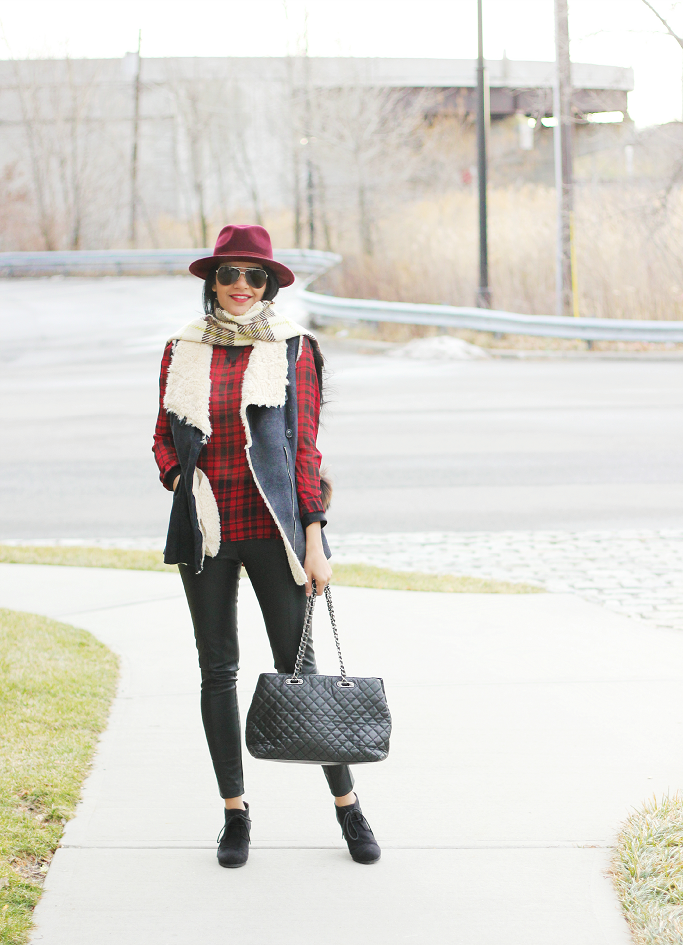 Burberry Plaid Scarf, Plaid Blanket Scarf, Zara Fur Vest, Red Wool Fedora Hat, Forever 21 Red Fedora