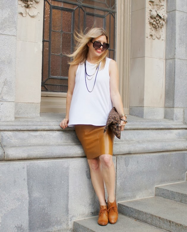 camel leather skirt, white Phillip Lim tank, ECCO 65 booties