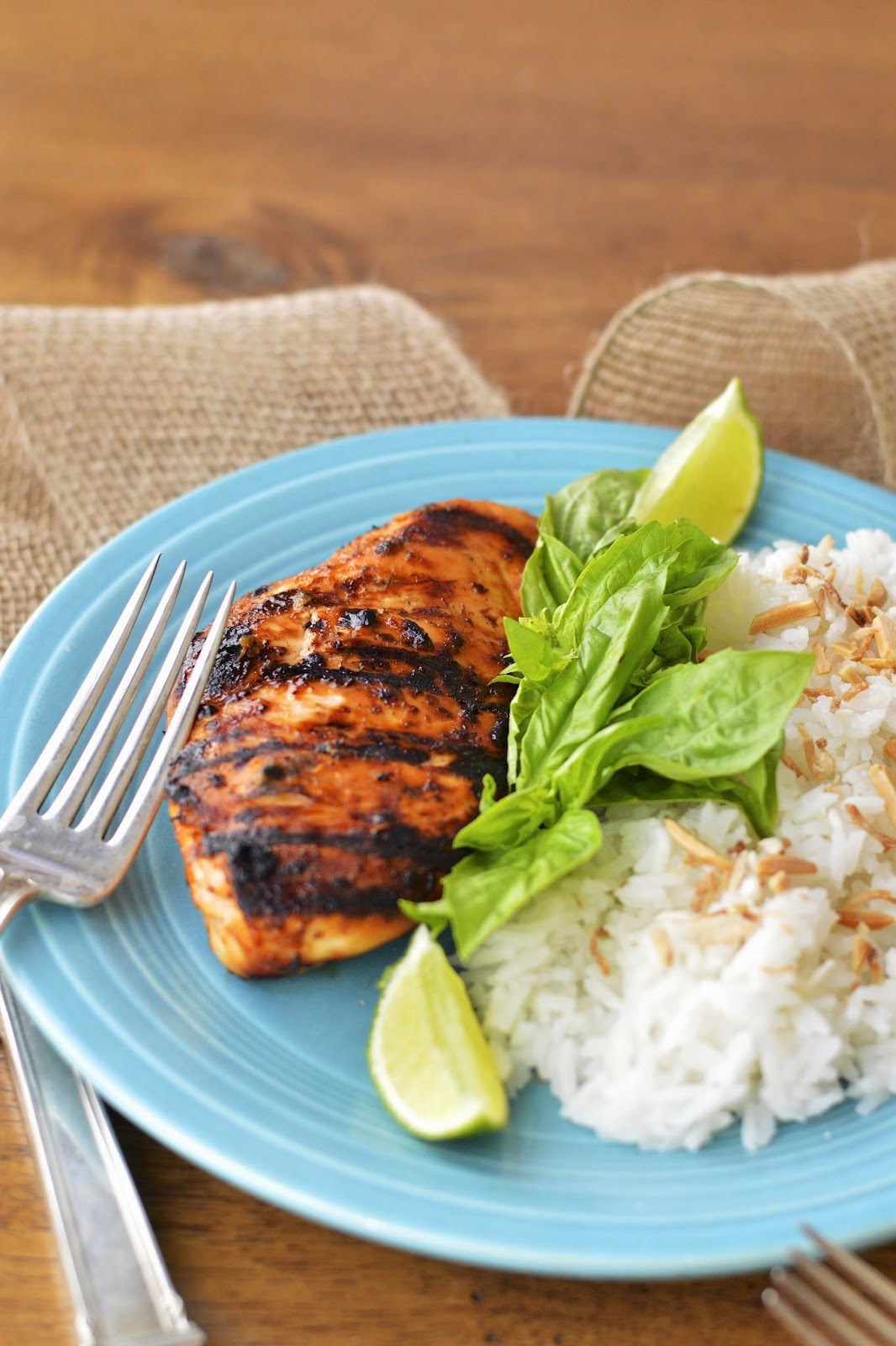 Grilled Thai Chicken with Coconut Jasmine Rice | Virtually Homemade ...