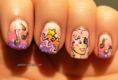 Polish Rainbow nail art: Jem and the Holograms nails.