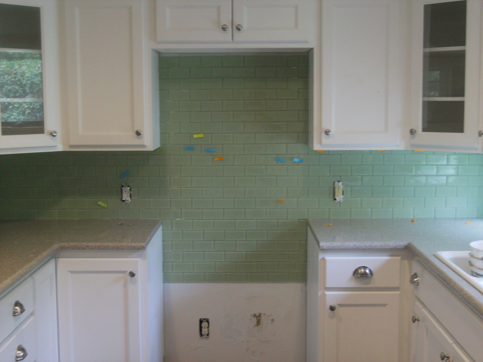 Glass subway tile install confessions of a tile setter for Installing glass tile with mesh back