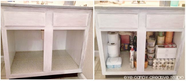 repainting bathroom cabinets, storage under bathroom sink, toiletries