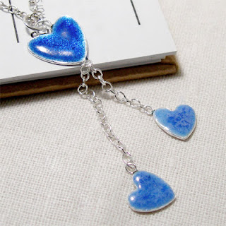 Triple Silver Heart Necklace in Sapphire & Baby Blue Enamel Silver