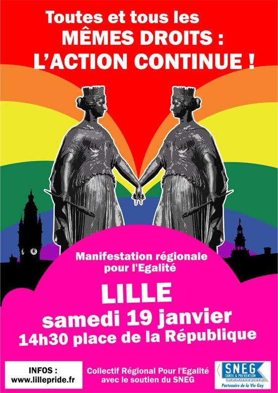 Affiche manifestation pour l'égalité janvier à Lille