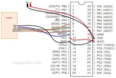 Skema rangkaian downloader USBASP dan ATMEGA16A