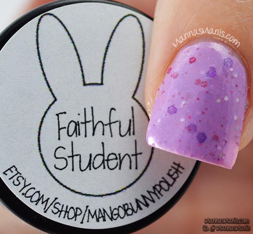 mango bunny faithful student, purple crelly nail polish