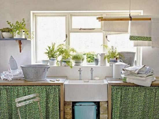 Retro y con encanto sin puertas for Muebles de cocina con cortinas