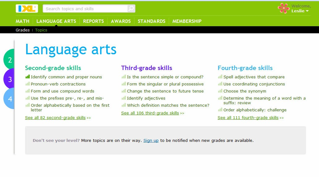 There\'s More 2 Les: Review: IXL - Online Language Arts Learning