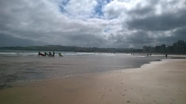 Atardecer playa de Gijón