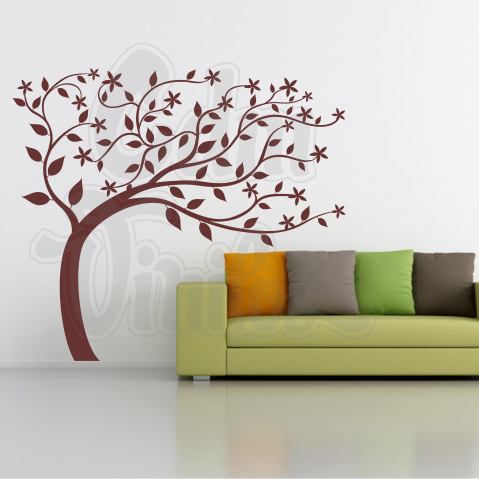 vinilo decorativo para pared árbol viento