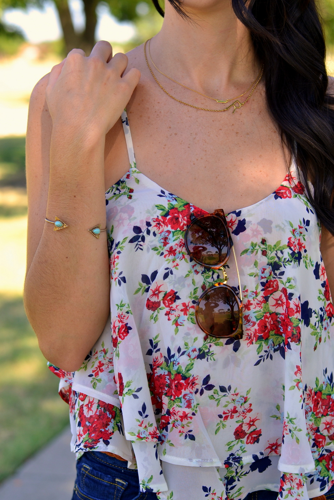 Floral Chiffon Cami and Tortoise Sunglasses