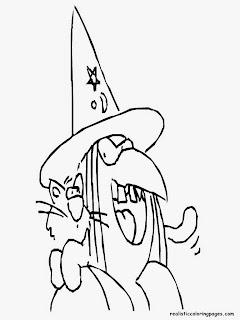 witch and cat free halloween coloring pages to print