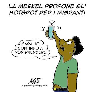 Hotspot, migranti. Merkel, vignetta satira