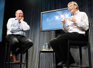 Bill Gates and Steve Ballmer on the last day of Gates in office