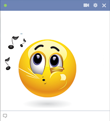 Whistling emoticon for Facebook chat