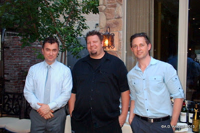 L to R - Owner Luan M. Tota with Chef Mike Stollenwerk and Publicist James Zeleniak at Branzino, Phila PA - Photo by A.D. Amorosi