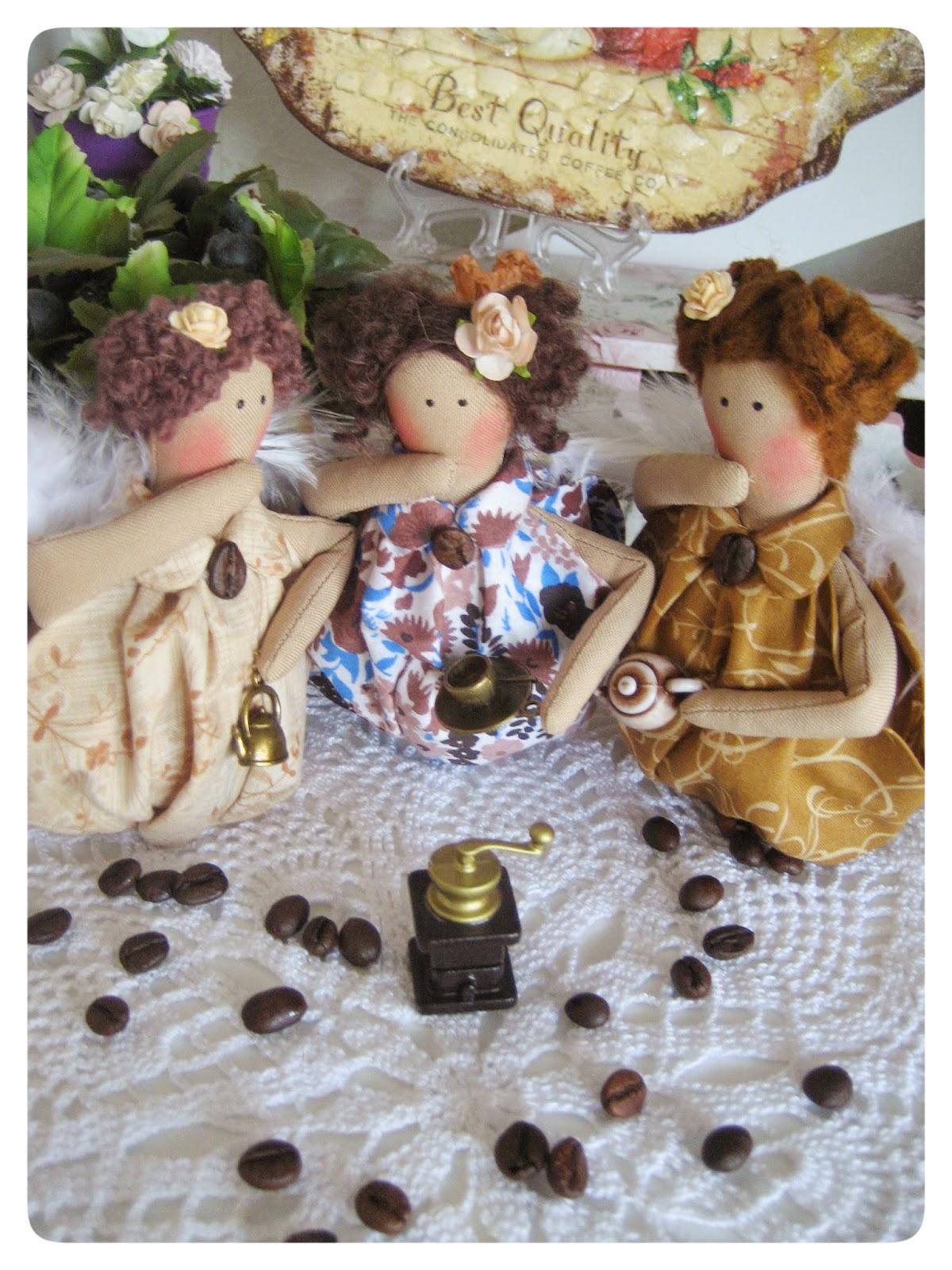 Кофейные мини ангелочки, тильда в чашке